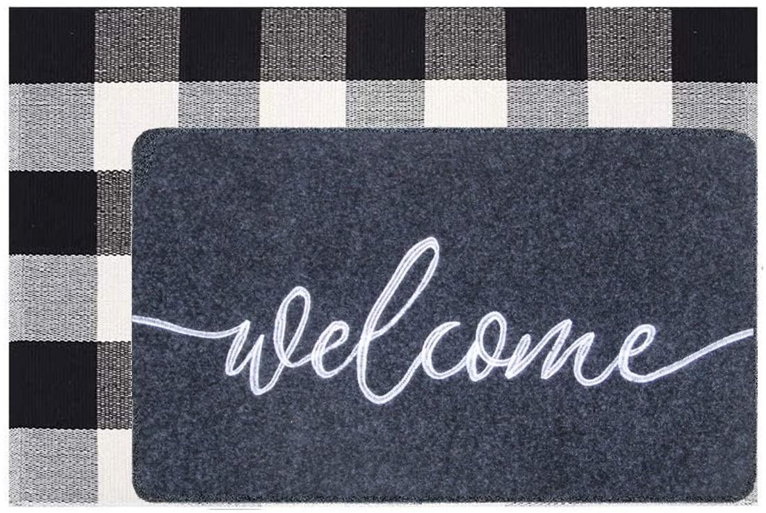 JOOJA Welcome Doormat, Welcome Mat Outdoor Rug + Buffalo Plaid Layered Rug, Non Slip Entryway Indoor Outdoors Mats, Welcome, Grey