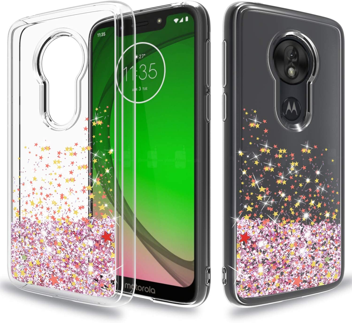 Wtiaw:Moto G7 Play Case,Moto G7 Optimo Case,Moto Optimo XT1952DL Phone Cases,T-Mobile Revvlry Case,Quicksand Series Flowing Liquid Floating Ultra Thin Shock Absorption Case for Moto G7 Play-SA Pink
