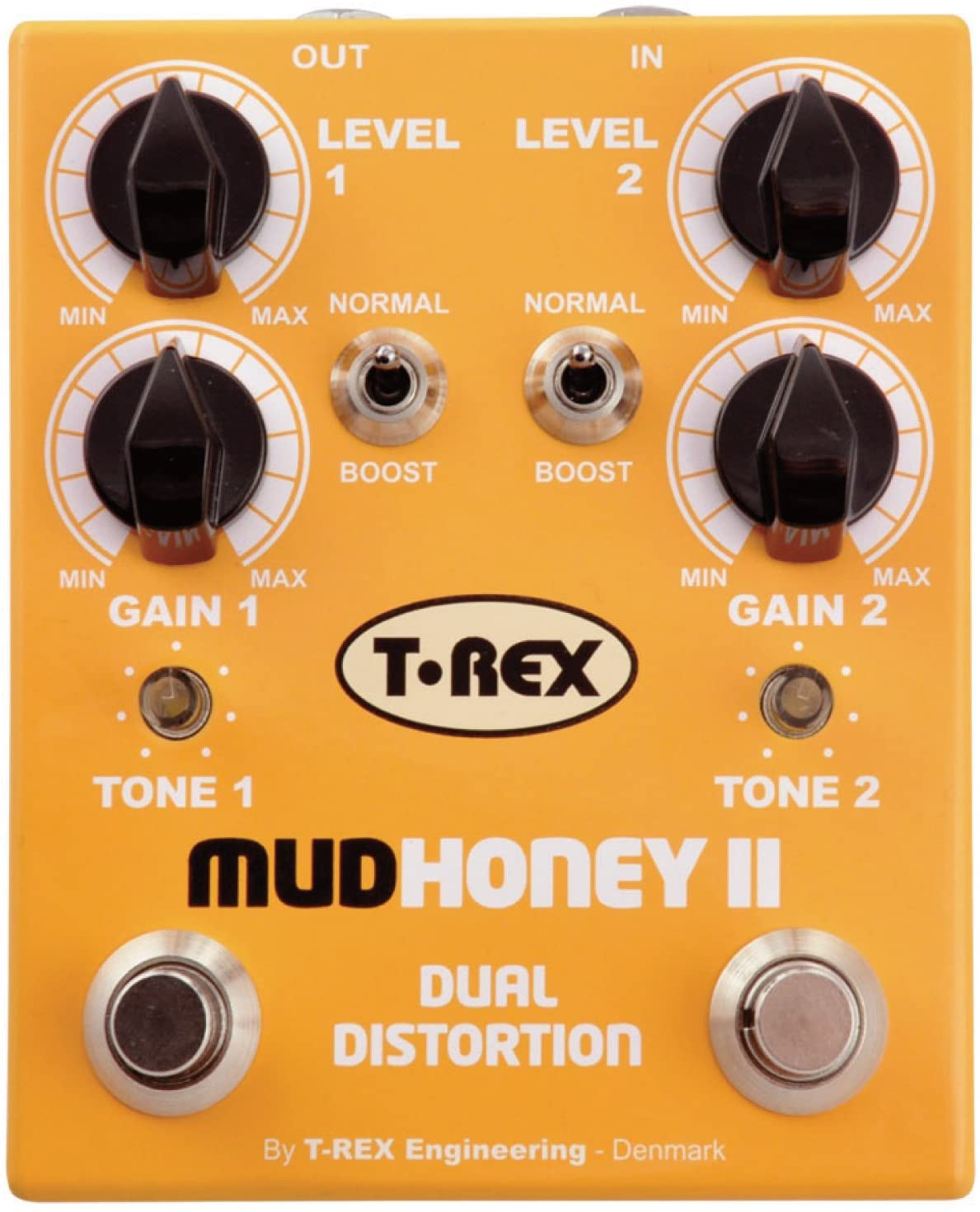 T-Rex Engineering MUDHONEY-II Dual Distortion Guitar Effects Pedal with Two Independent Channels of Vintage Gain Dual Distortion; Individual Boost Function and Tone Controls for Each Channel (10020)