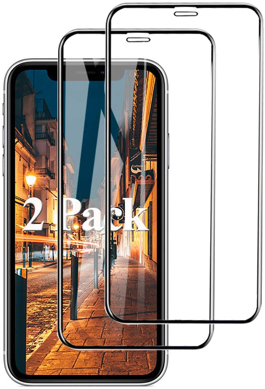 2 Pack 9D Full Coverage iP Xr Screen Protector Compatible With Apple iPhone X R Tempered Glass i-Phone 10r Xphone Rx HD Clear Anti-Scratch Bubble Protective Film Temped Glas (Black)