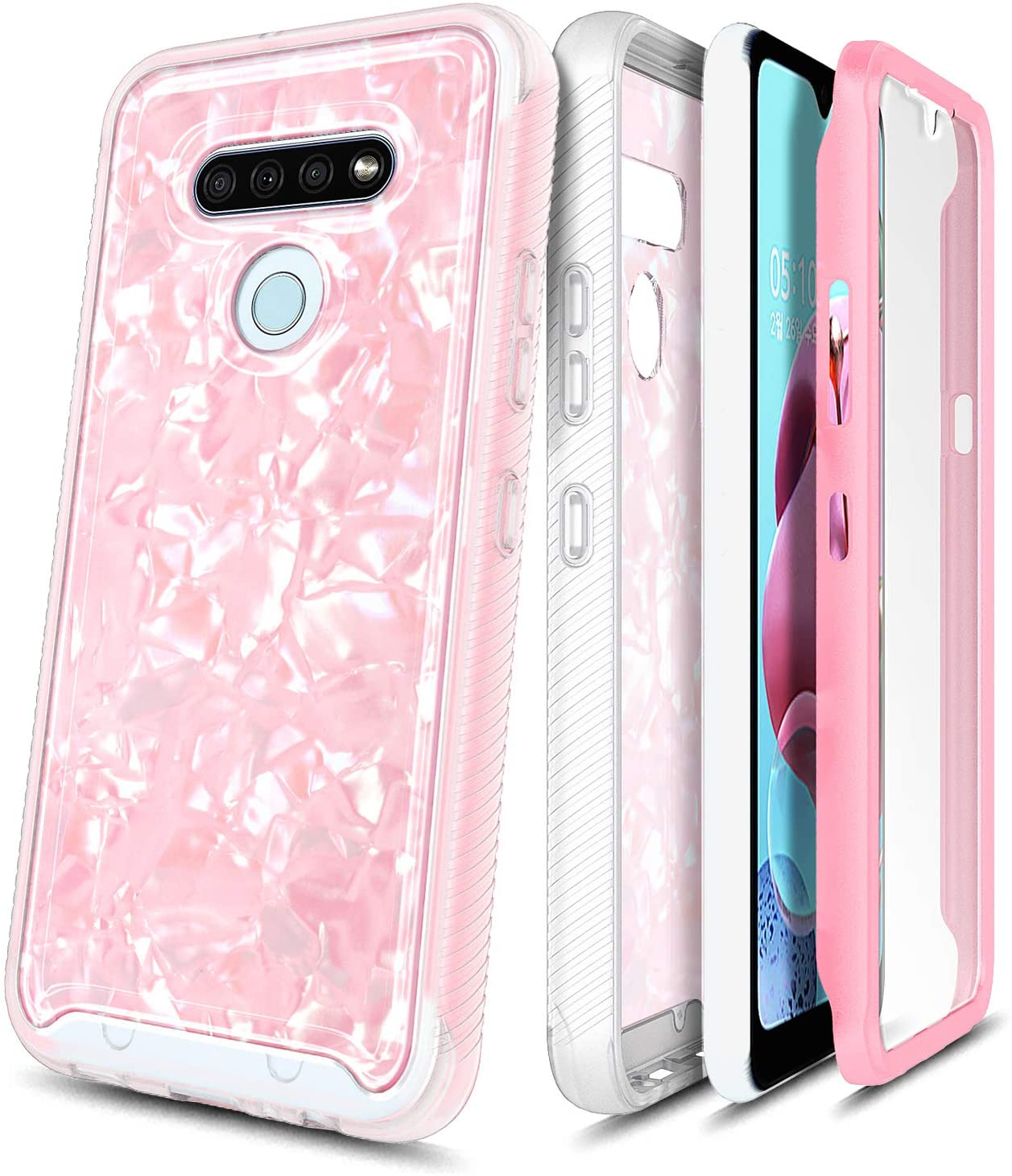 E-Began LG Stylo 6 Case with Built-in Screen Protector, Full-Body Protective Rugged Matte Bumper Cover, Seashell Pattern, Shockproof Impact Resist Durable Phone Case -Light Pink