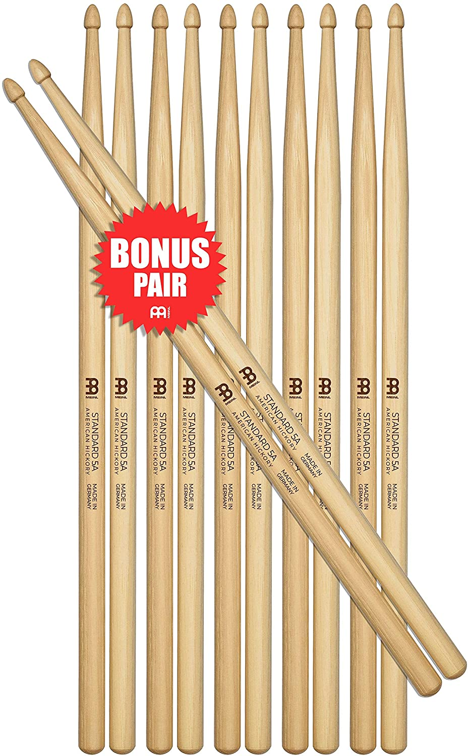 Meinl Stick & Brush Drumsticks, Standard 5A Half Brick (6 Pairs, 5 Plus 1 FREE) - American Hickory with Acorn Shape Wood Tip - MADE IN GERMANY (SB101-6)