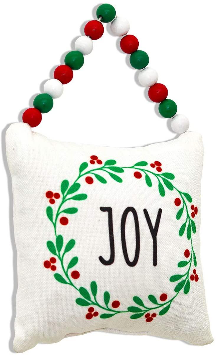 Mini Joy Decorative Fabric Pillow Hanging Decor with Wood Bead String Hanger, Christmas Ornaments Home Decor