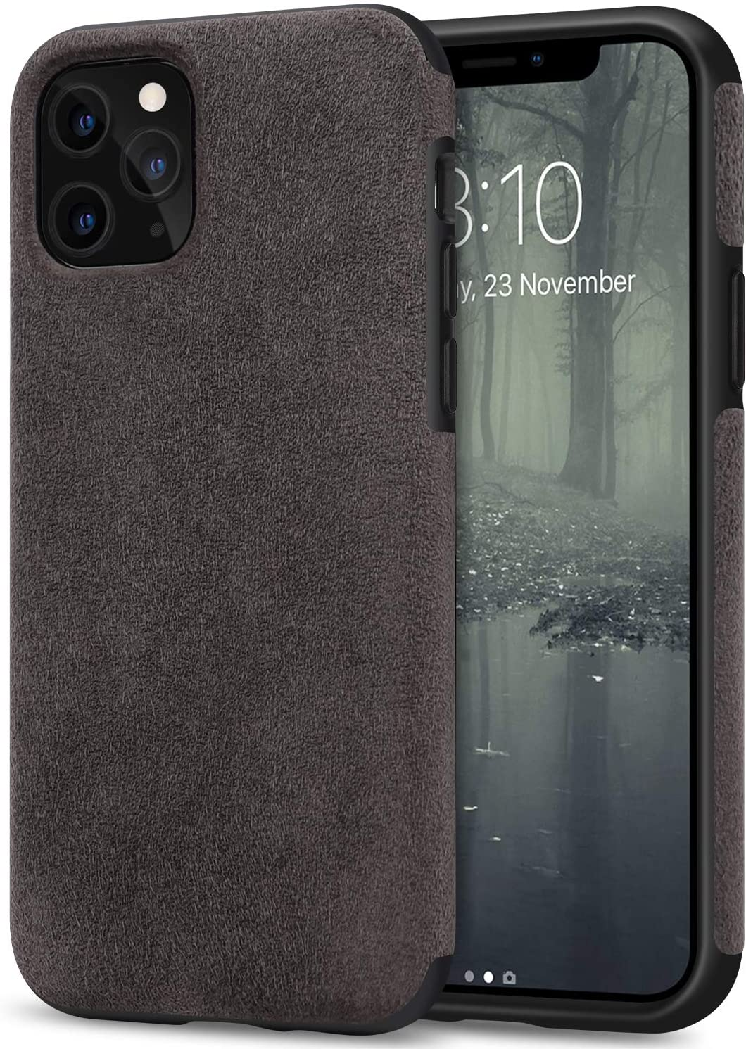 TENDLIN Compatible with iPhone 11 Pro Max Case Premium Suede-Like Material Design Leather Hybrid Comfortable Grip Case (Brown)