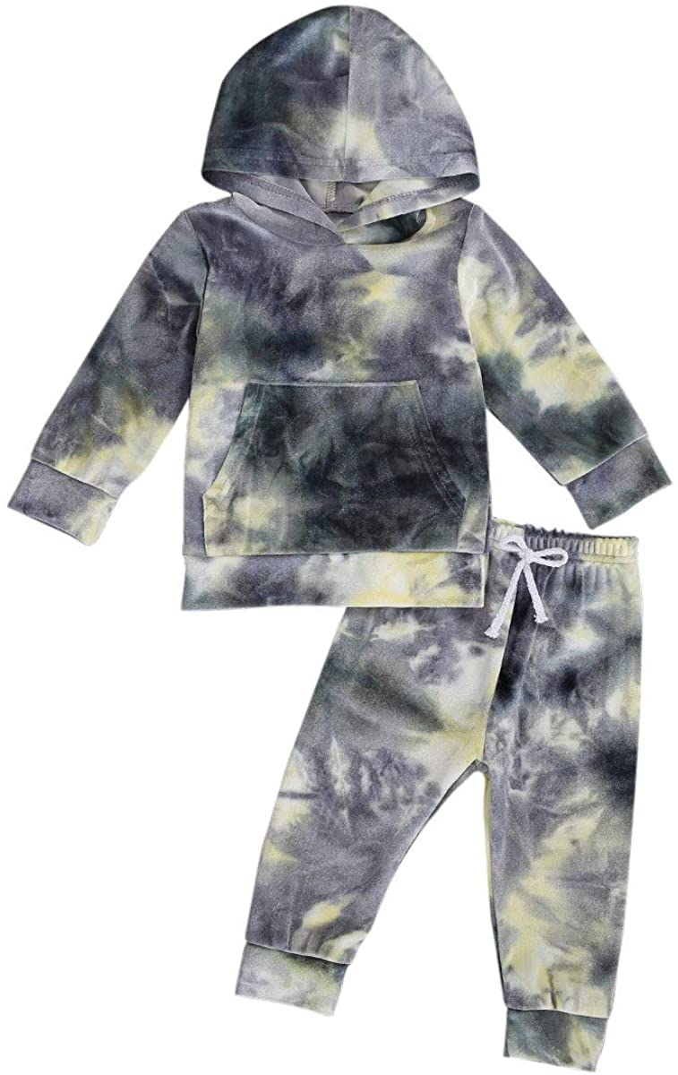 Toddler Baby Girl Boy Fall Clothes Tie Dye Hoodie Sweatshirt Top Drawstring Pants 2 Pieces Velvet Outfits Tracksuit Set