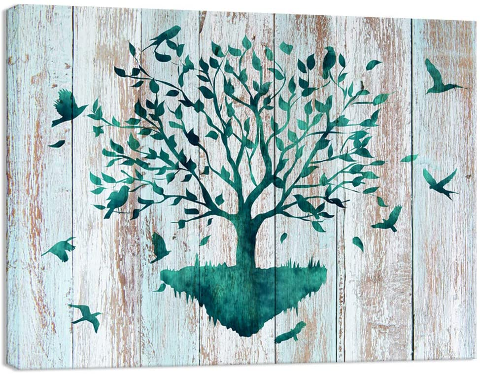 Visual Art Decor Rustic Teal Birds Flying to Life Tree Canvas Wall Art Prints Gallery Wrapped Ready to Hang for Home Office Wall Decoration