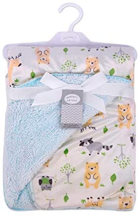 Mother's Choice Baby Sherpa Swaddle Blanket (Mint Owls)