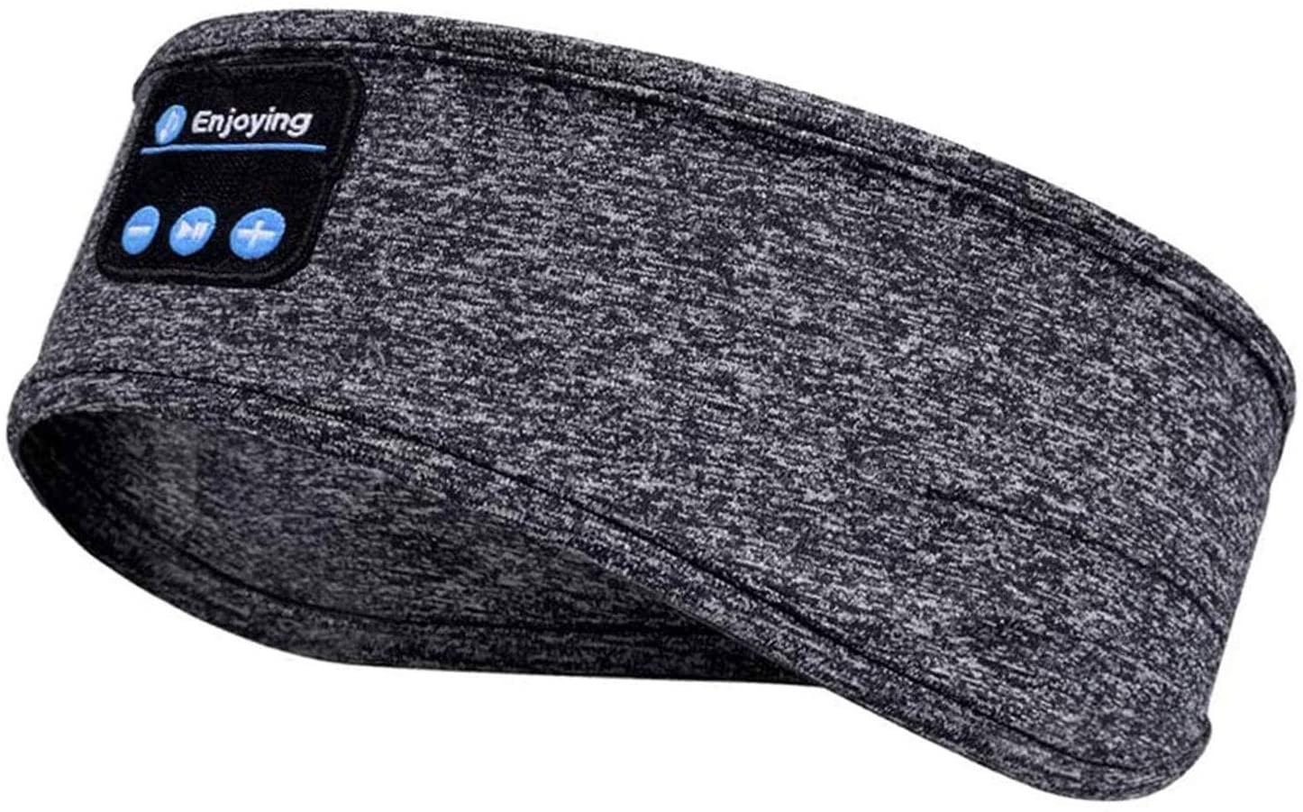Tiandirenhe Sleep Headphones Headband, Bluetooth 5.0 Wireless Music Sports Headband Headphones with Micphone for Workout, Running, Jogging, Yoga, Insomnia Side Sleepers (Grey)