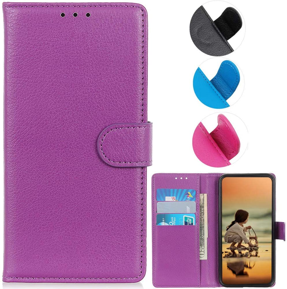 YOUKIT Wallet Case for Google Pixel 5, Premium PU Leather Case Flip Folio Cover with Card Slots, Magnetic Closure, Kickstand (Shockproof TPU Interior Case) for Google Pixel 5 (Purple)