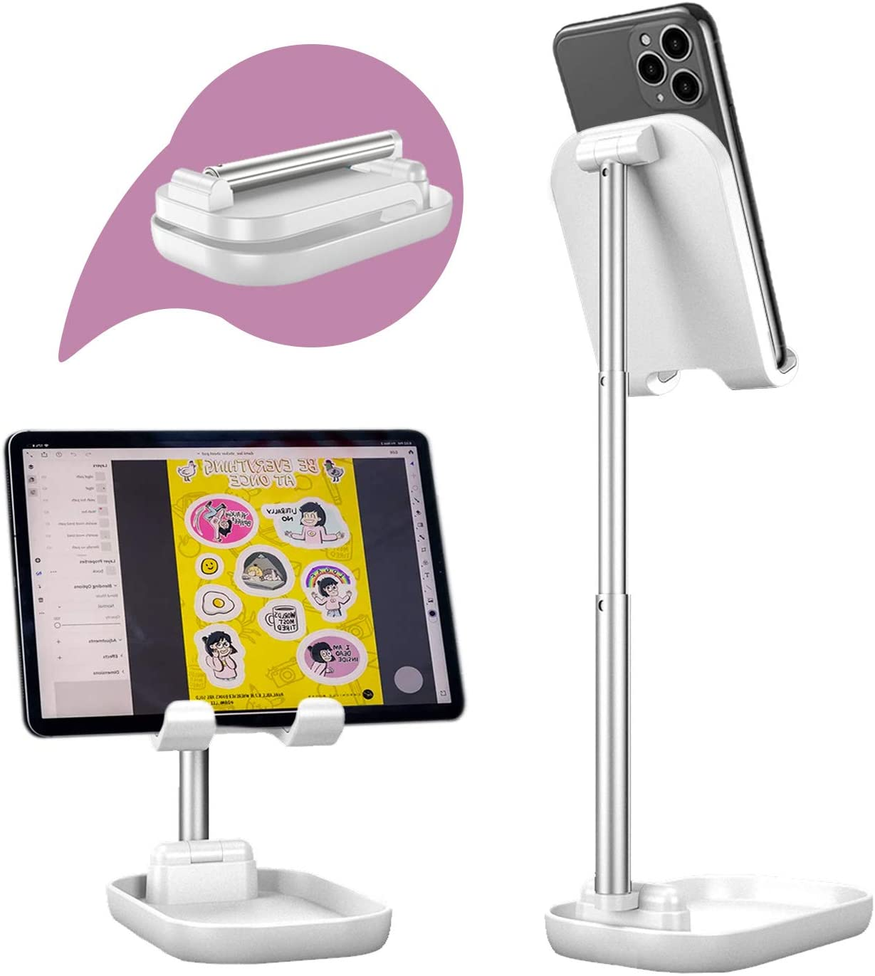 VKTEN Cell Phone Stand, Fully Foldable Phone Stand, Angle Height Adjustable Phone Holder Desktop Cradle Dock Compatible with All Phones, iPad Mini, Nintendo Switch, Kindle, Tablets (4-11