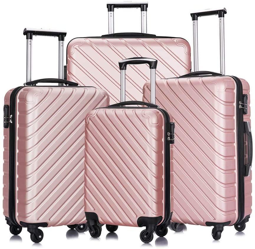 4 piece luggage set with spinner wheels luggage carry on hardshell luggage sets suitcase (4 Piece Luggage Rose Gold)