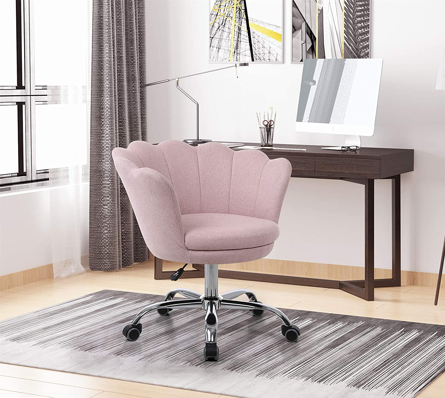 Upholstered Shell Chair 360°Swivel Height Adjustable Modern Fabric Racing Chair Home Office Chair with Metal Base and w/Casters,Tufted Vanity Gaming Chair with Wheels for Living Bedroom(Pink)