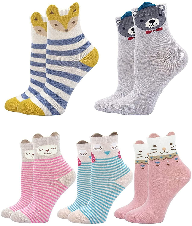Feirun Toddler Cotton Socks Kids Mini Novelty Athletic Socks for Baby 5 pairs