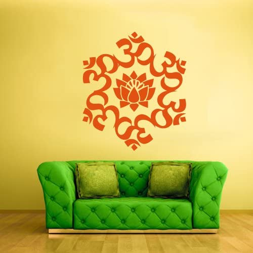 STICKERSFORLIFE Wall Decal Vinyl Decal Sticker Om Lotos Indian India Buddha Symbol Sign z1458