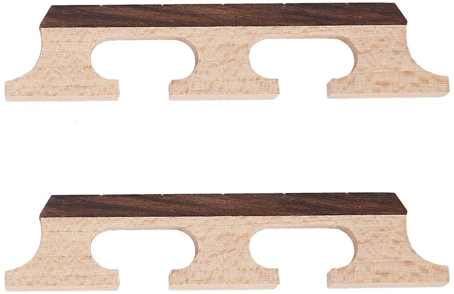 Banjo Bridge, RiToEasysports 2Pcs HA02 5-String Rosewood Maple Banjo Bridge Wooden Accessories