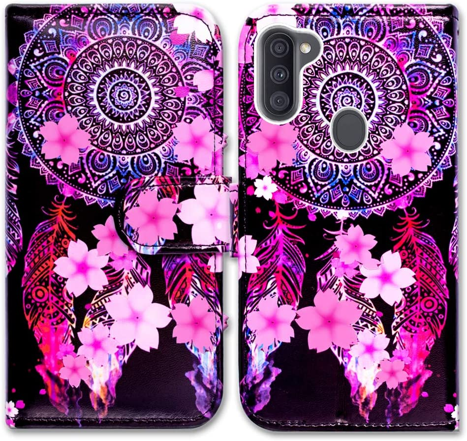 Galaxy A11 Case (US Version),Bcov Mandala Pink Flower Leather Flip Case Wallet Cover with Card Slot Holder Kickstand for Samsung Galaxy A11 2020