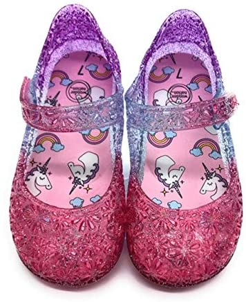 Jelly Sandals Girls Unicorn and Rainbows Waterproof Jellies Velcro Strap Slip On MaryJanes in Pink, Purple and Silver with Glitter