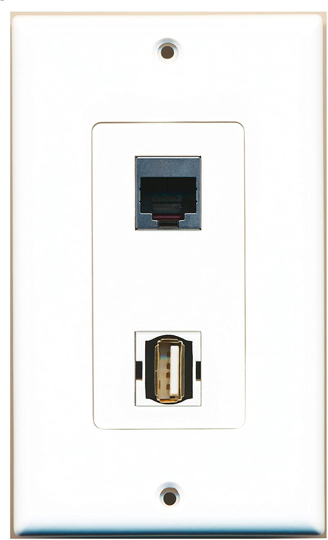 RiteAV - 1 Port USB A-A 1 Port RJ45 Shielded Decorative Wall Plate - Bracket Included