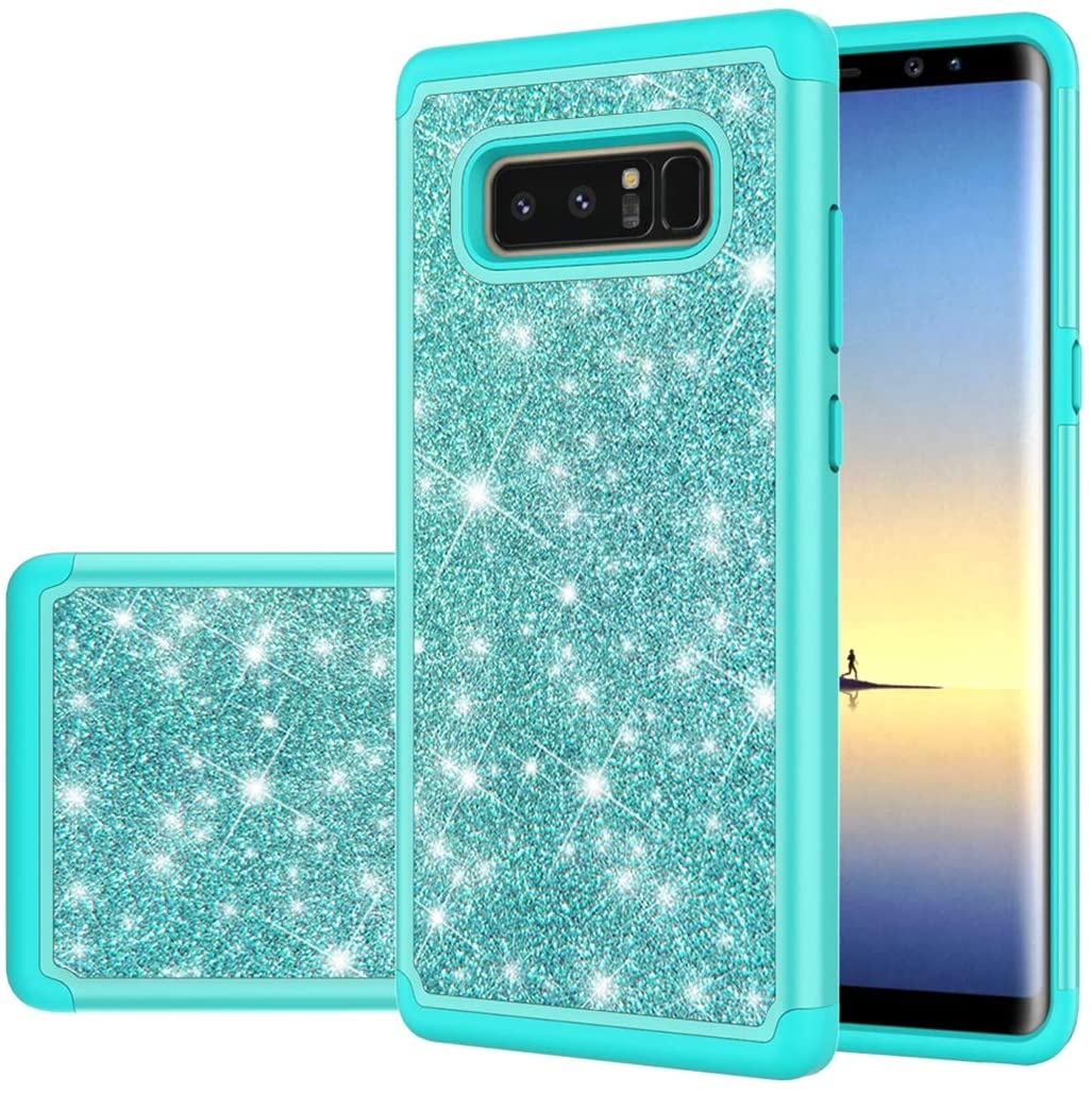 Gufuwo Phone Case for Galaxy Note 8, Samsung Note8 Case, Glitter Bling Cute Girls Women Dual Layer Heavy Duty Hybrid Protection Cover for Samsung Galaxy Note 8 (Mint Green)