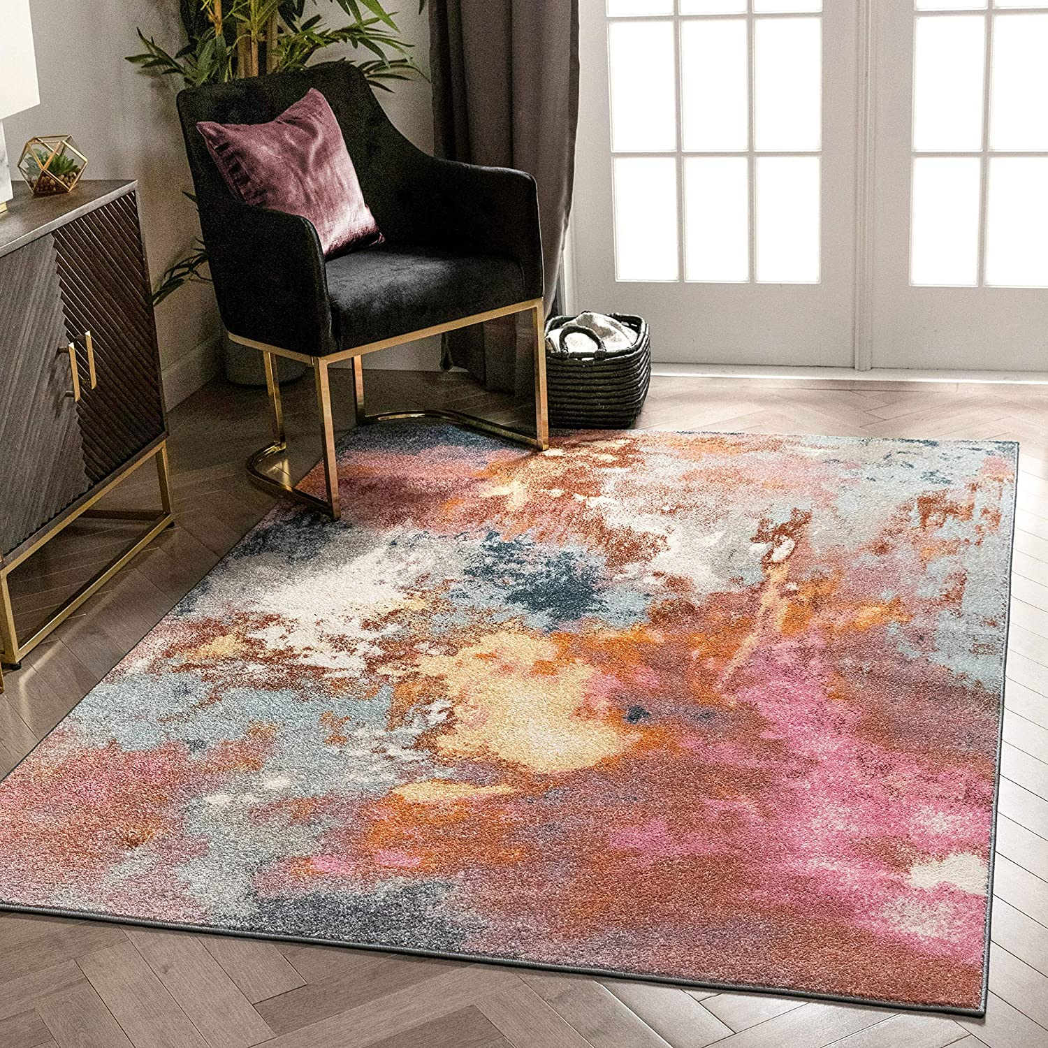 Well Woven Kosme Bohemian Vintage Multi Blue & Pink Abstract Geometric Pattern Area Rug 5x7 (5'3