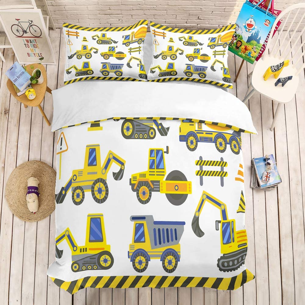 REALIN Construction Duvet Cover Set Excavator Tractor Crane Bedding Boy Bed Sets 2/3/4PCS Microfiber Quilt Covers/Sheets/Pillow Shams,Twin/Full/Queen/King Size