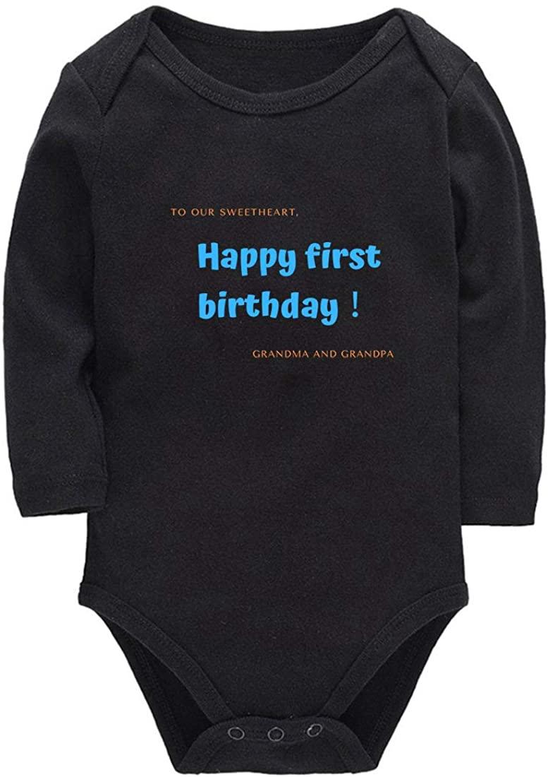 Lizerlly Pregnancy Announcement for Grandparents First Birthday Baby Onesie Long Sleeve Bodysuit
