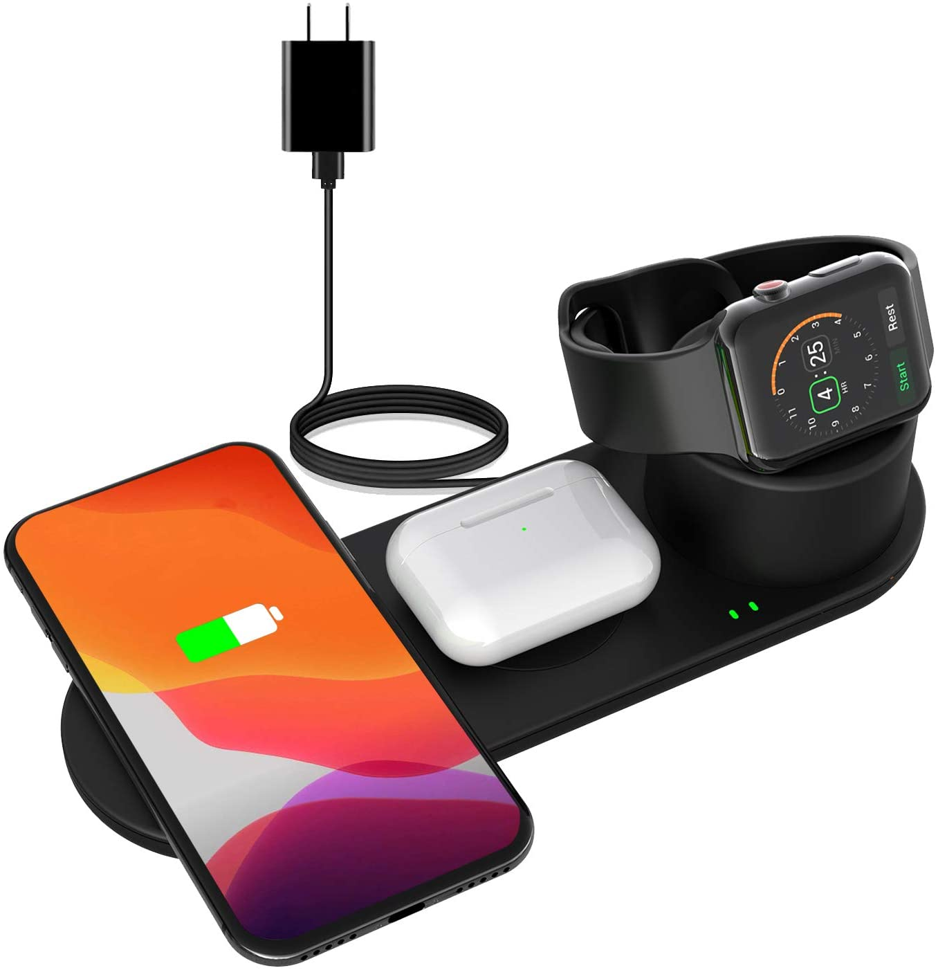 EloBeth 3 in 1 Qi Certified Wireless Charger Station Compatible with iPhone SE/11 pro/Xs/XR/X/8 and Airpower Wireless Charging Apple Watch Series 6 5 4 Stand Android Phone Multiple Devices Charger