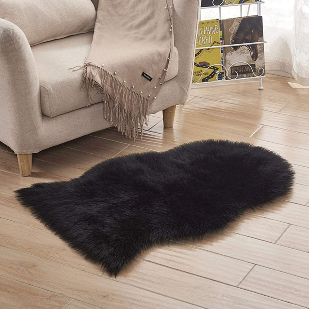 2x3 ft Luxury Fluffy Rugs Faux Sheepskin Fur Area Rugs, Ultra Soft Fish-Shaped Fuzzy Chair Cover, Comfy Shaggy Carpet Floor Mat for Bedroom Living Room Kid Nursery(Black)