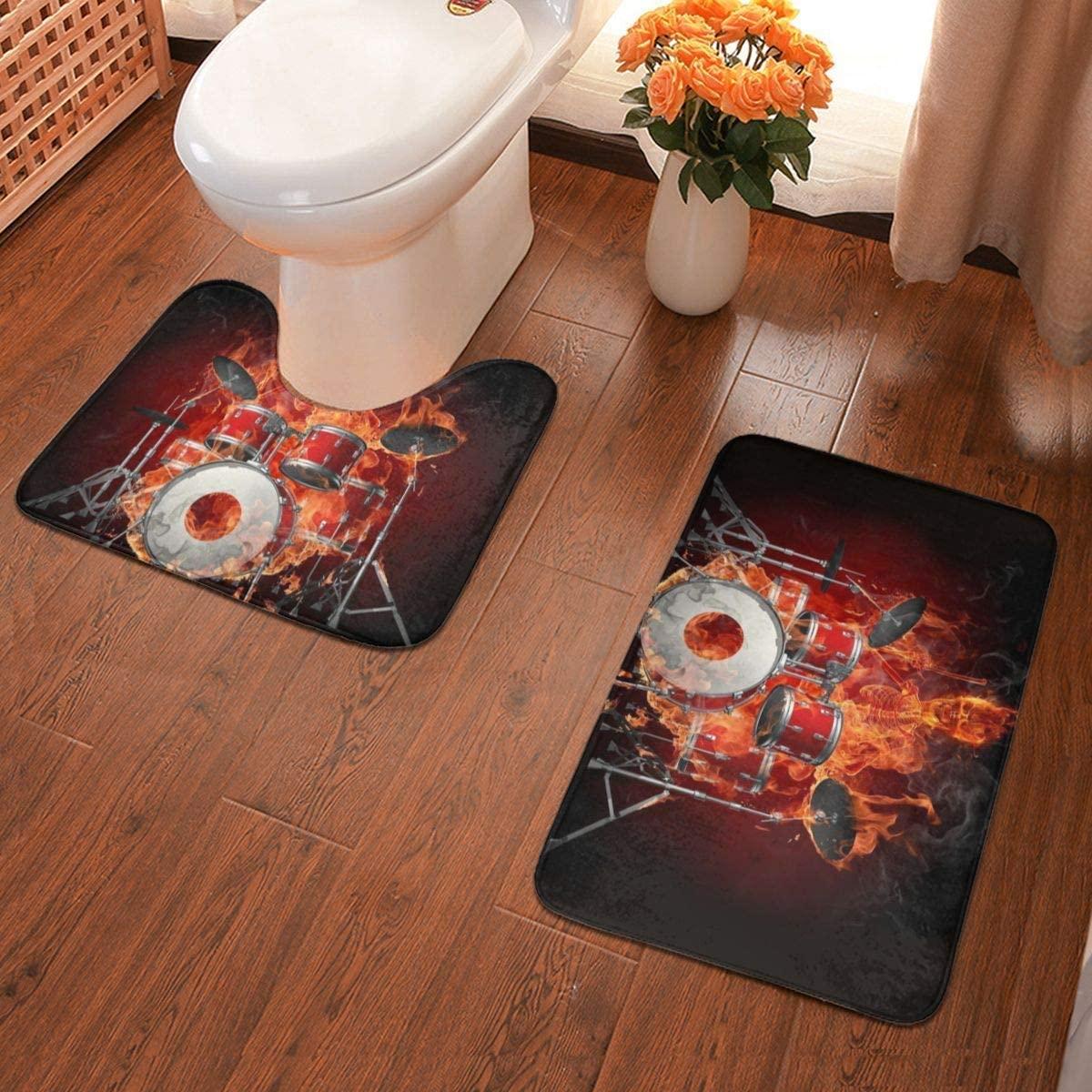 Bathroom Rug Skull Drums Flannel Bathroom Antiskid Pad Mats Set 2 Piece Soft Pads Bath Mat + Water Absorption Contour