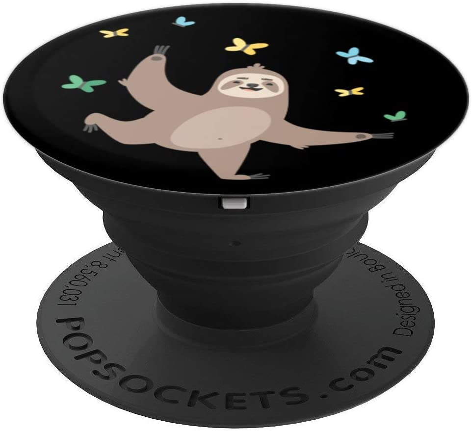 Funny Sloth Popsocket - Funny Sloth Pop Socket - Butterfly PopSockets Grip and Stand for Phones and Tablets