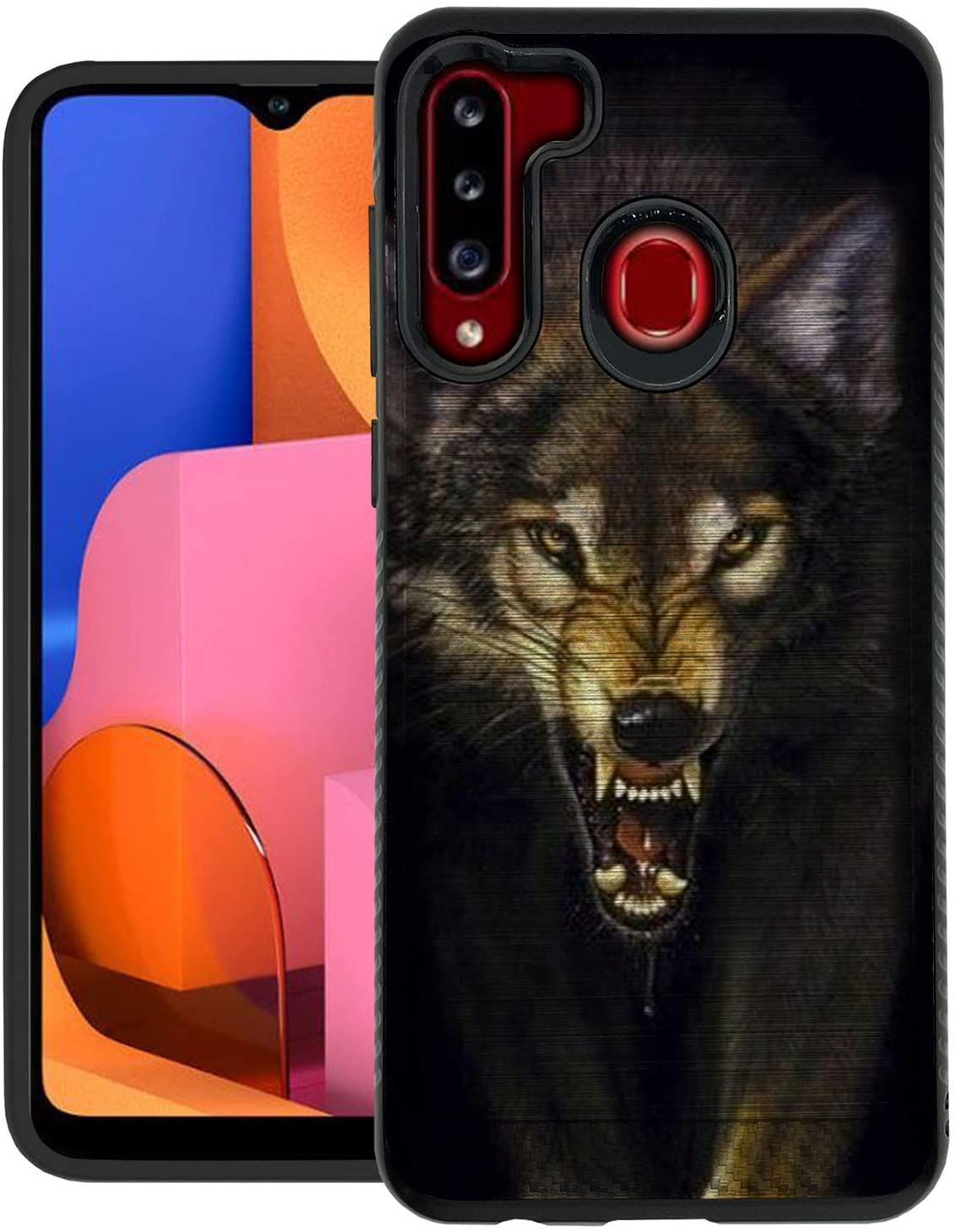 CasesOnDeck Hybrid Case Compatible with [Samsung Galaxy A21 / A21 Case] [Brushed Armor] Slim Fitted Shock Combat Cover -Wolf