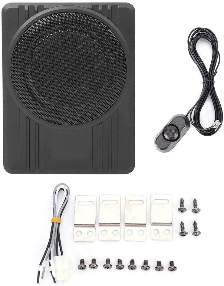 Gorgeri 10in 600W Car Subwoofer, Slim Under-Seat Subwoofer Speaker Universal Car Audio Amplifier