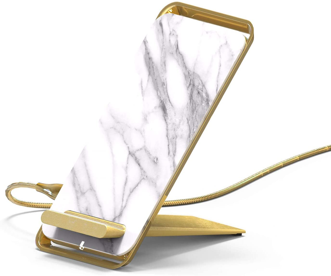GAZEON 10W Wireless Charging Stand Marble Pattern Surface, 2-Coil Qi Certified Wireless Charger, Compatible iPhone Xs MAX/XS/XR/X/8/8 Plus, Galaxy Note9/8/S9/S9 Plus/S8, USB Type C for Fast Charge