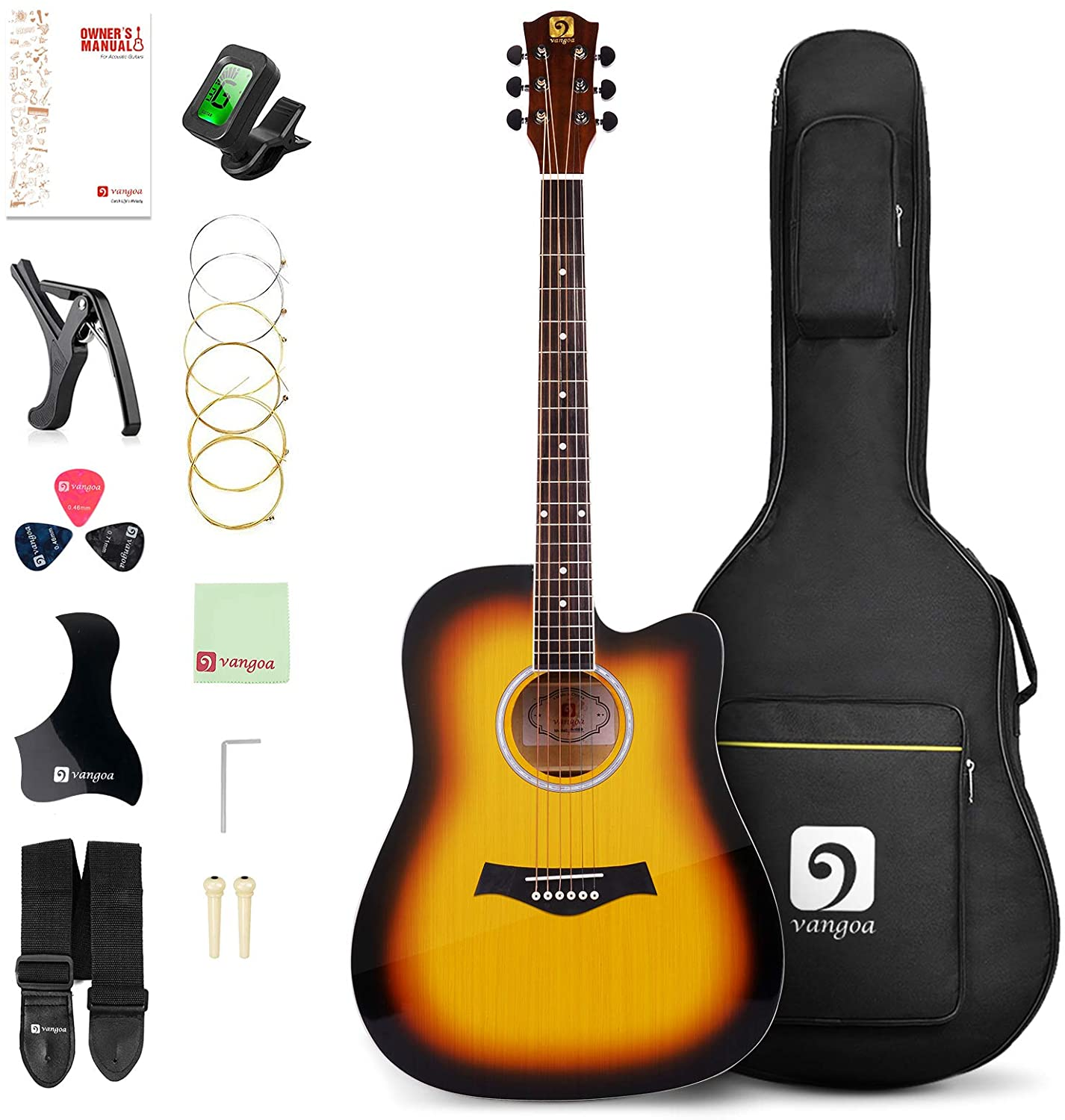 Vangoa Acoustic Guitar 41 inch, Full Size Cutaway Acoustic Guitar Kit with Padded Case, Tuner, Strap, Picks, Capo, Extra Strings for Beginners, Sunburst