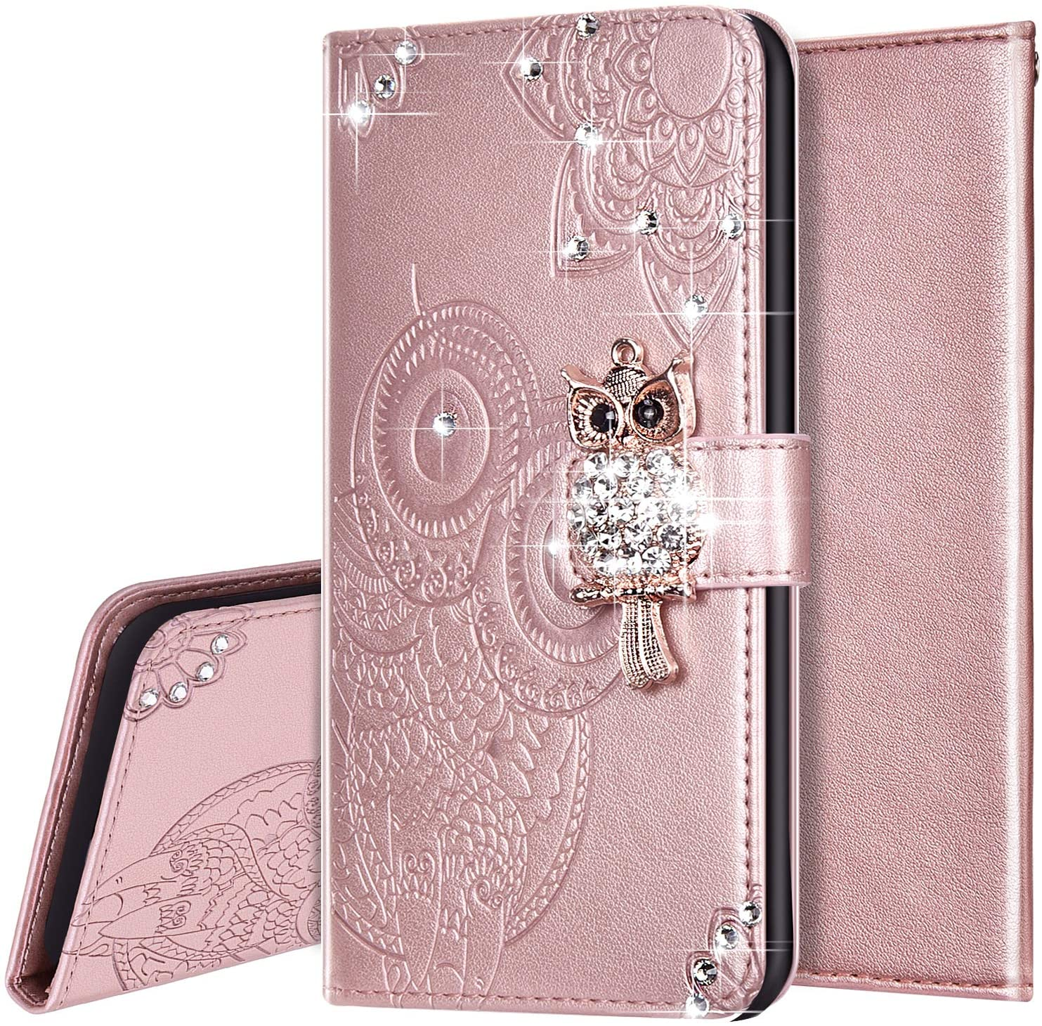 PHEZEN Case for Samsung Galaxy S20 Bling Wallet Case,Luxury 3D Bling Crystal Rhinestone Owl Floral PU Leather Wallet Flip Case With Card Slots & Kickstand for Galaxy S20,Rose Gold