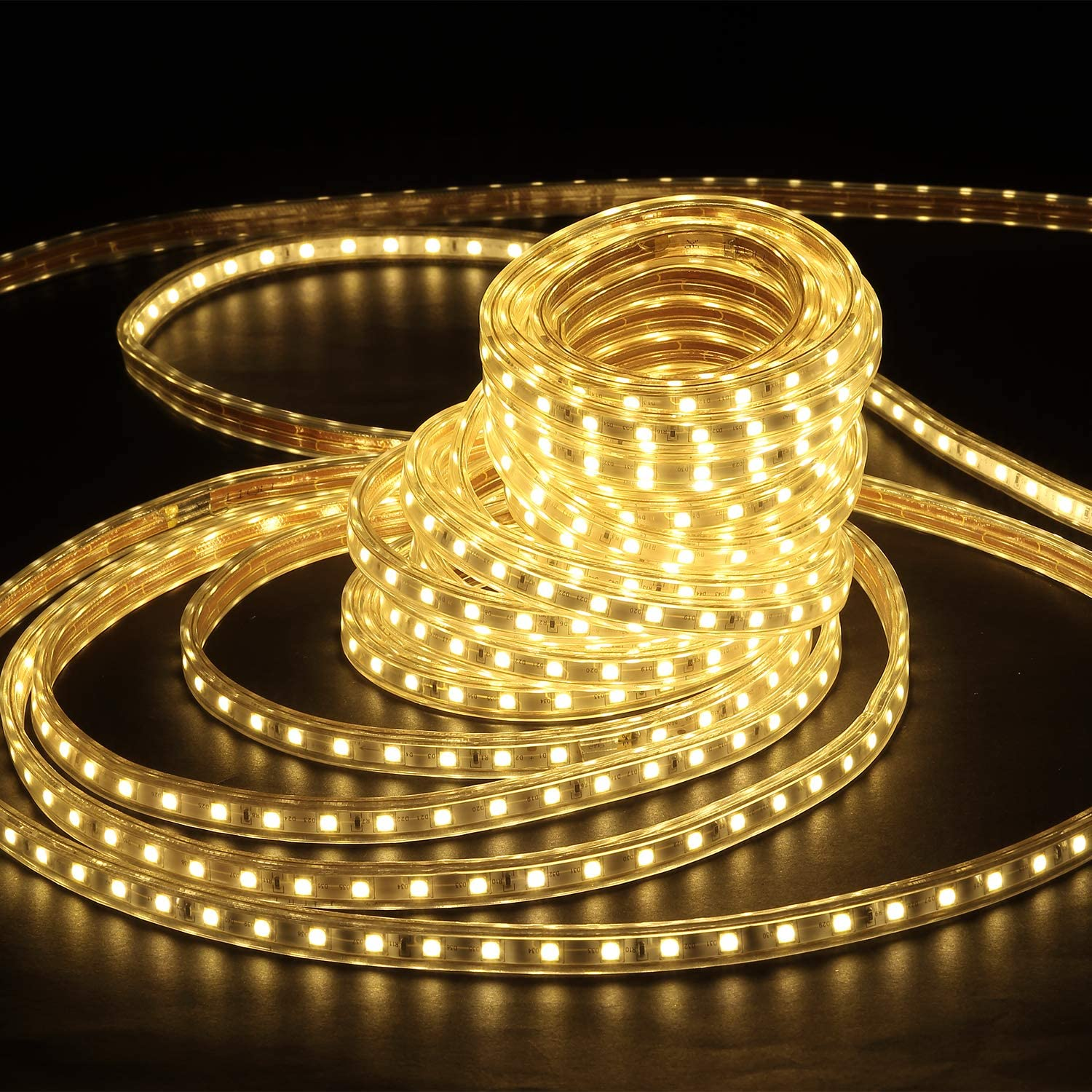 Waterproof Led Strip Lights Outdoor Indoor, Power Supply with Fuse, 50FT/15M, Warm White, 900 SMD Lights, UL Certified
