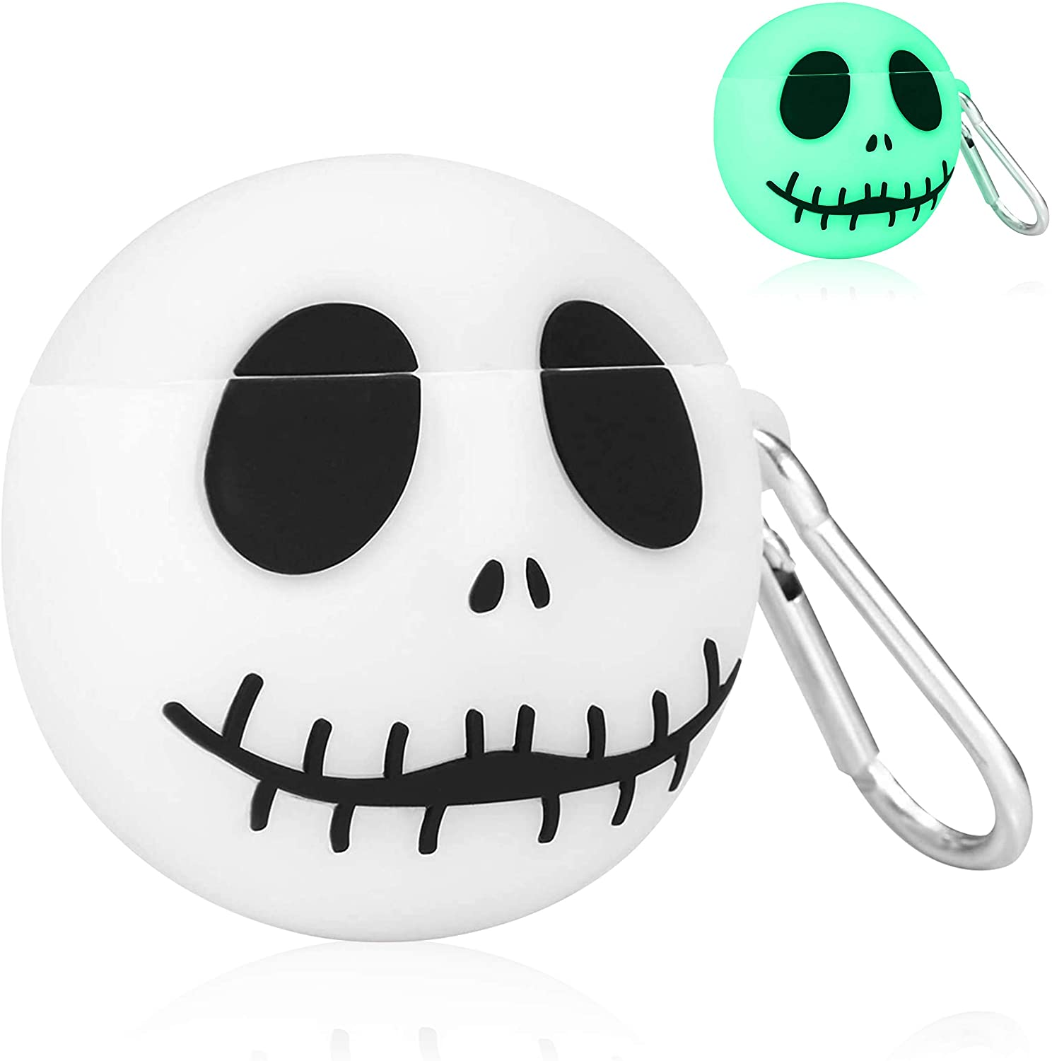 Oqplog for AirPods 2&1 Case, Protective Soft Silicone Cartoon Cute Fun Fashion Cover for Girls Teens Kids Boys Air Pods, Stylish Cool Design Skin Accessories Cases for Airpod 1/2 - Luminous Skull