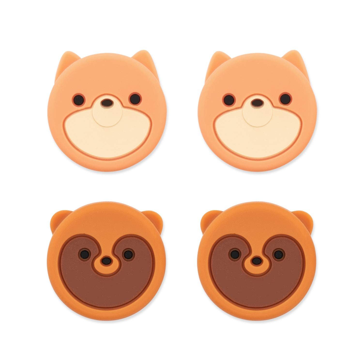 GeekShare Cute Animal Theme Thumb Grip Caps,Compatible with Nintendo Switch & Switch Lite Only,Soft Silicone Joystick Cover,4PICS -- Fox and Civet