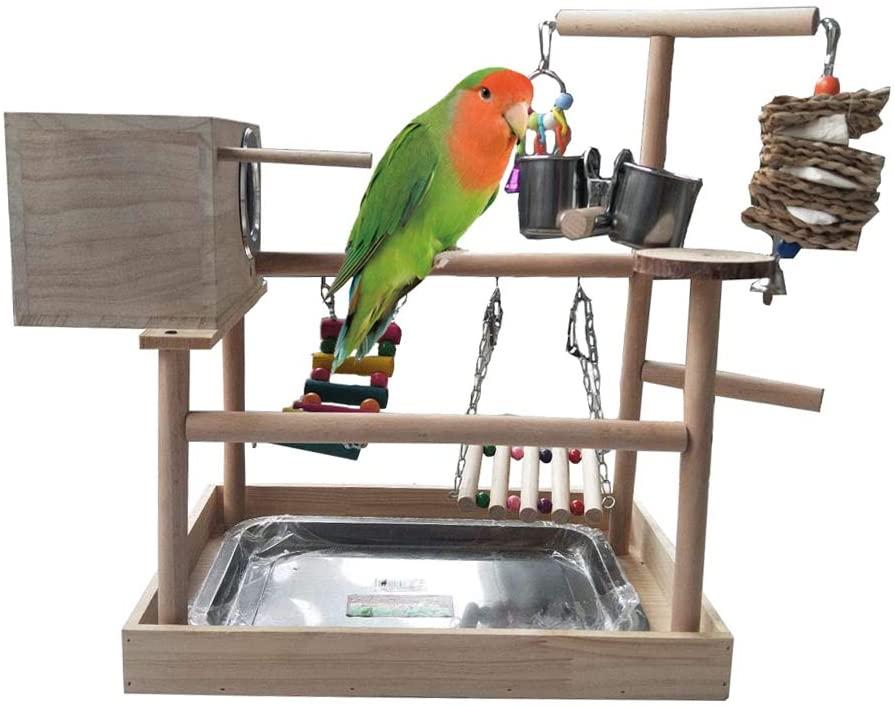 kathson Parrots Playstand Birds Perch Stand Play Gym Cockatiel Playpen with Chewing Toys Bridges Swings Food Bowl Parakeet Breeding Box for African Grey Conures Cockatoos Parrotlets