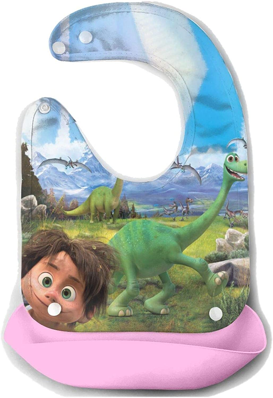 OVX Dinosaur-Good Children Drooling Bib Meals Silicone,Waterproof Easy Wipe Clean