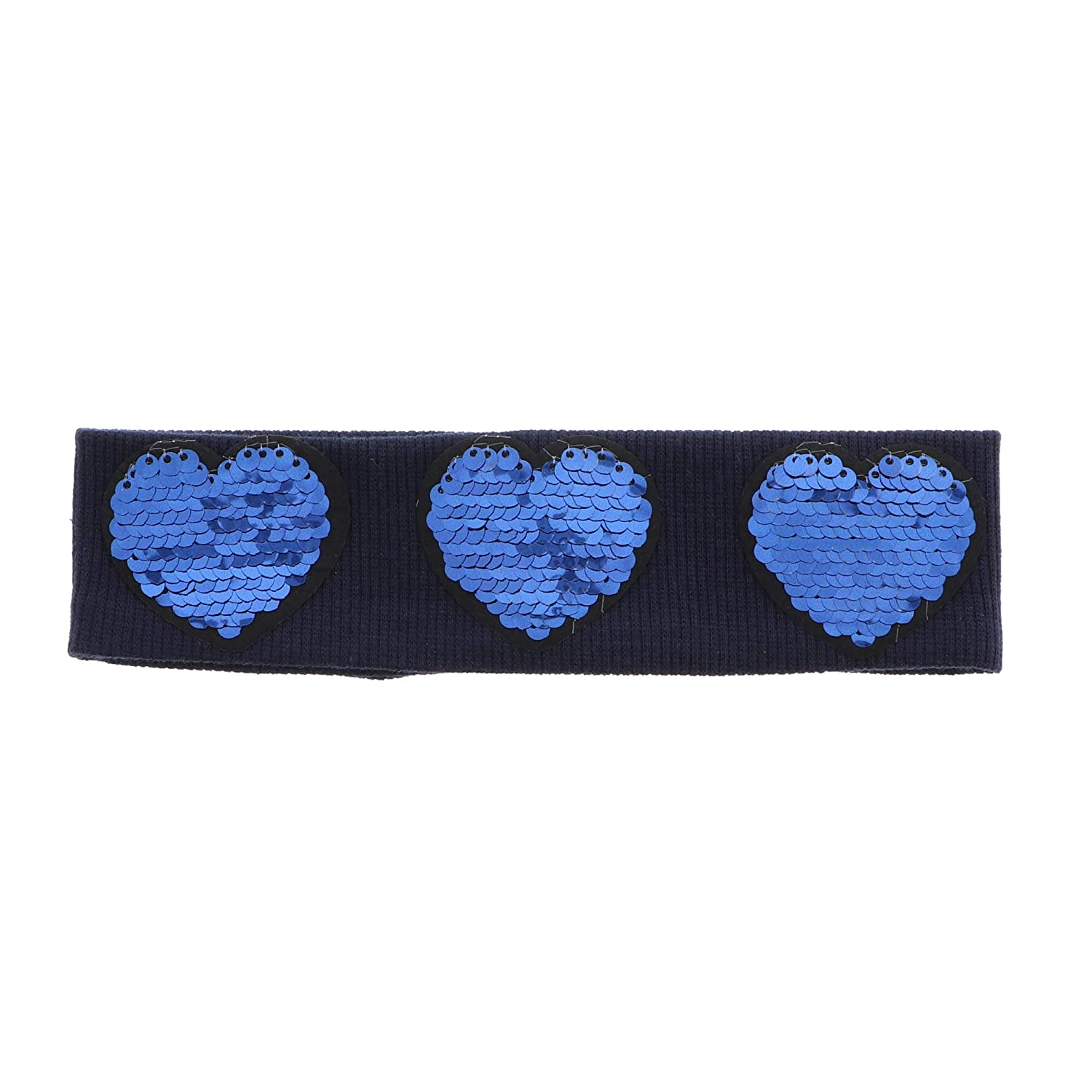 Fancy Headwrap Ribbed Baby Headband with Three Solid Sequin Hearts - Navy
