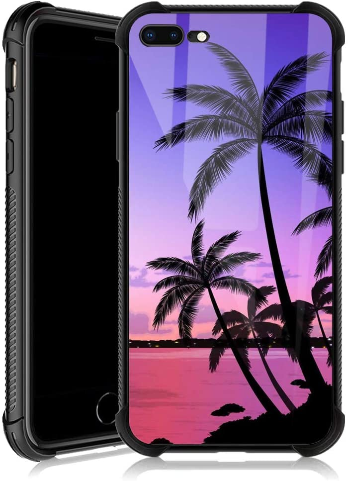 iPhone 8 Plus Case,Colorful Sunset Palm Leaf iPhone 7 Plus Cases for Girls,Tempered Glass Back Cover Anti Scratch Reinforced Corners Soft TPU Bumper Shockproof Case for iPhone 7/8 Plus Pink Seaside