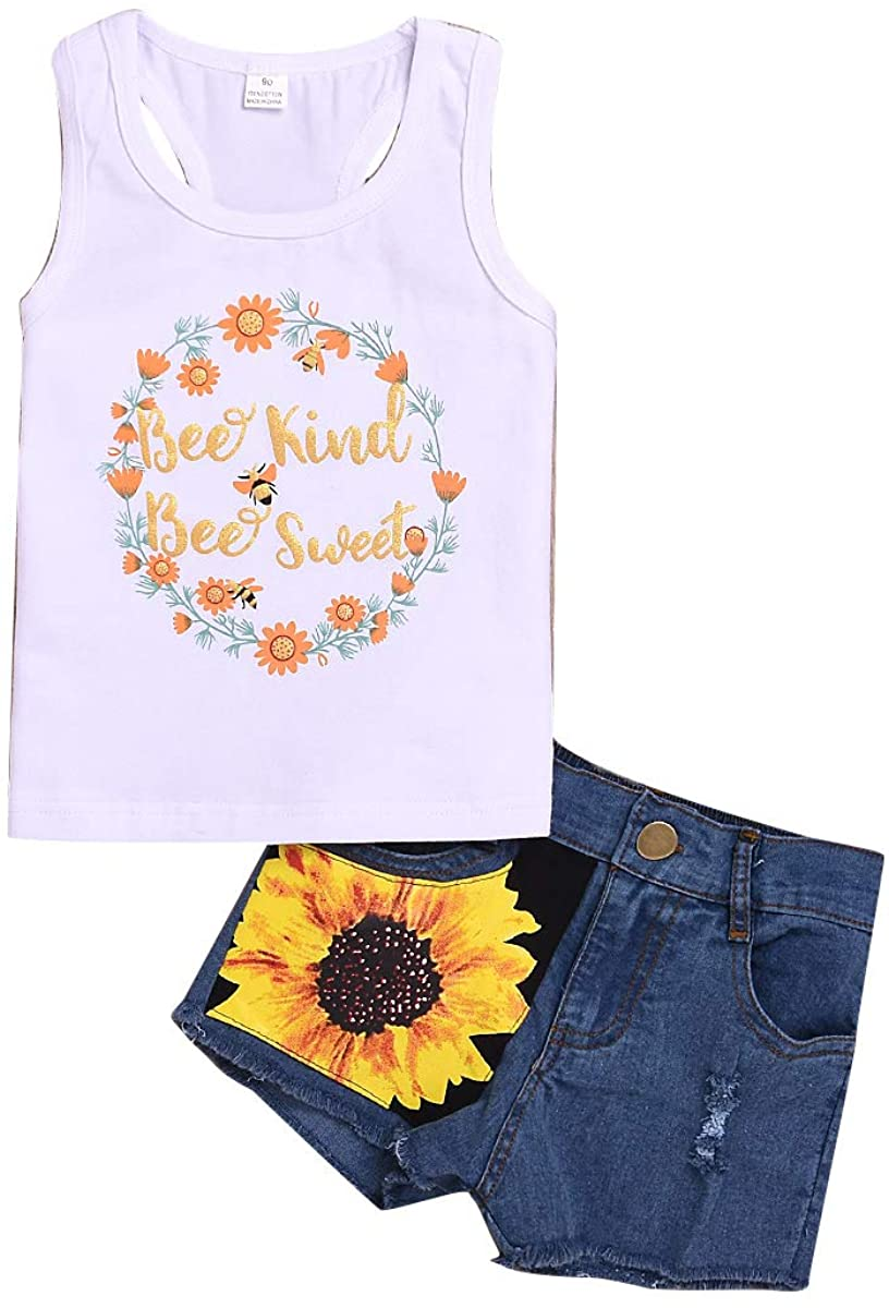 SunshineFace Baby Girls Fashion Suit Outfits Flower Print Tank Top + Sunflower Jeans Shorts Pants 2pcs/Set