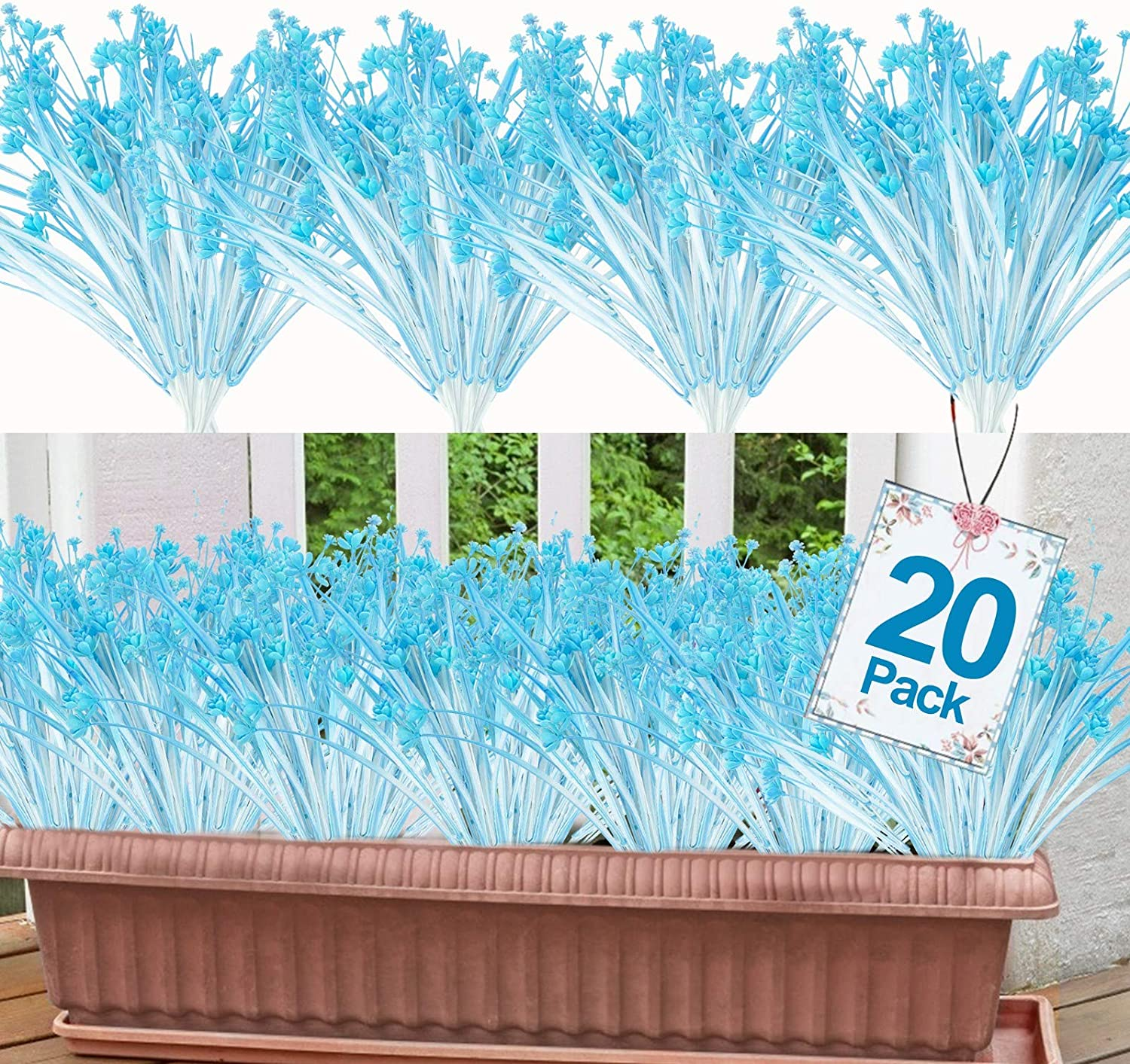 20 Bundles Artificial Flowers for Outdoor Decoration, UV Resistant Faux Outdoor Plastic Greenery Shrubs Plants Artificial Fake Flowers Hanging Planter Kitchen Home Office Garden Decor (Blue White)