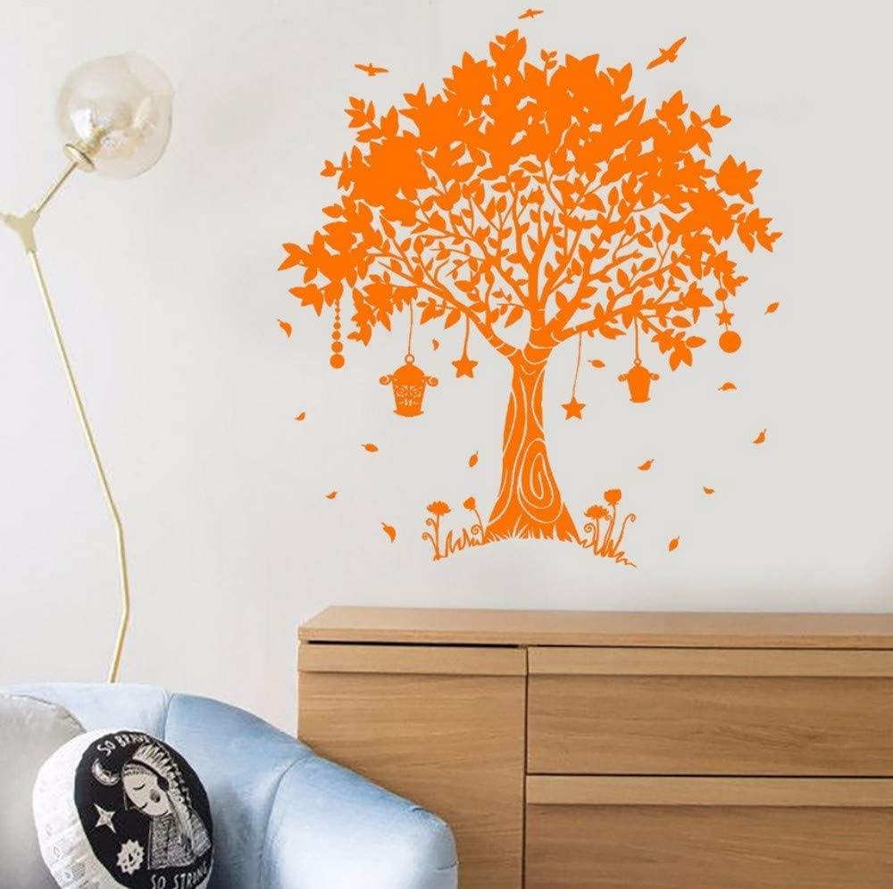 dsajgker 57X63Cm Vinyl Wall Decal Beautiful Dream Magic Tree Hanging Lanterns Fairy Tale Kids Room Home Decoration Stickers
