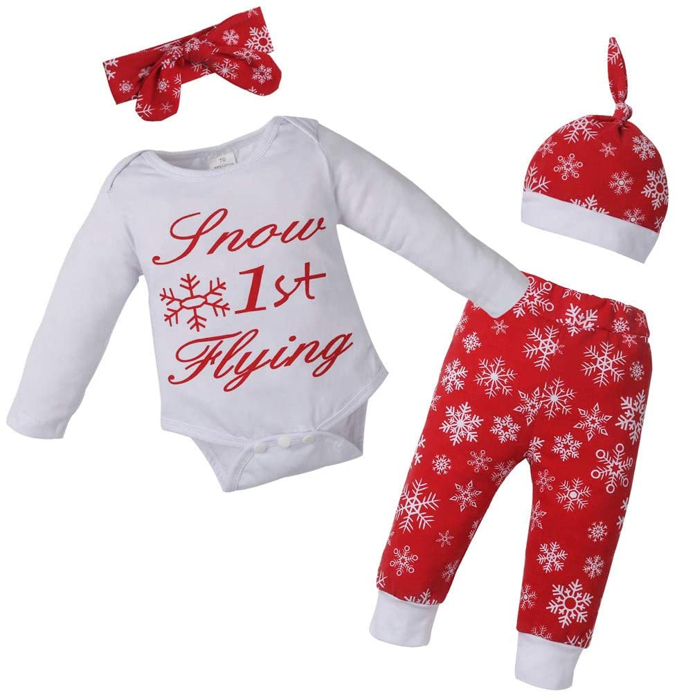 Ywoow Christmas Baby Long-Sleeved Letter Printed Romper + Pants + Headband + hat Four-Piece Suit 4PCS Christams Baby Letter Print Romper+Pants+Headbands+Hat