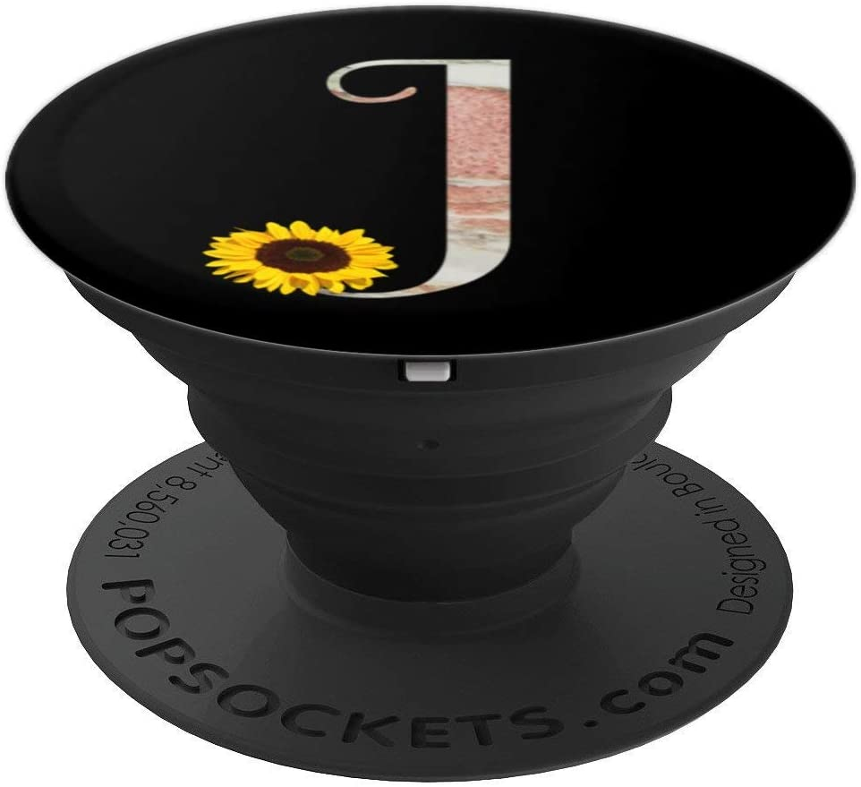 Letter J marble, sunflower monogram, initial J for girls PopSockets Grip and Stand for Phones and Tablets
