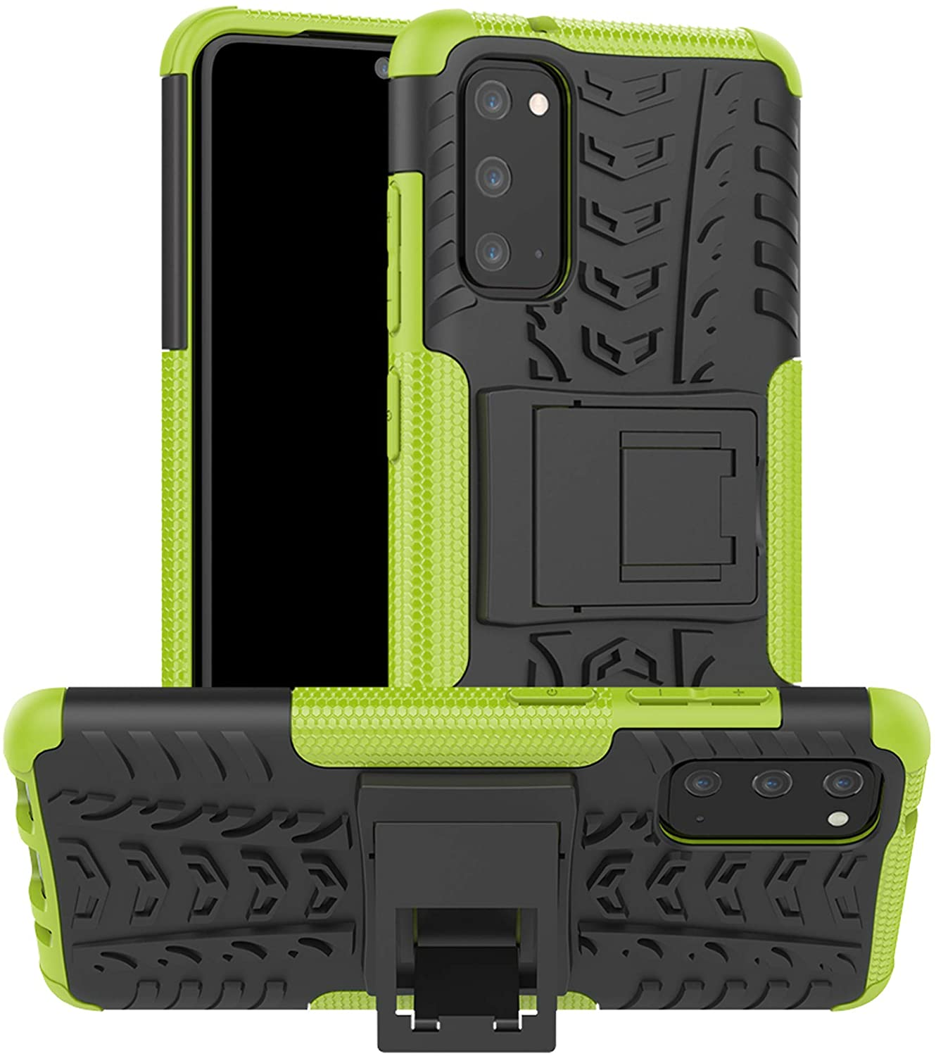 LiuShan Compatible with Galaxy S20 Case,Shockproof Heavy Duty Combo Hybrid Rugged Dual Layer Grip Cover with Kickstand for Samsung Galaxy S20 Smartphone(Not fit Galaxy S20 Ultra /S20 Plus),Green