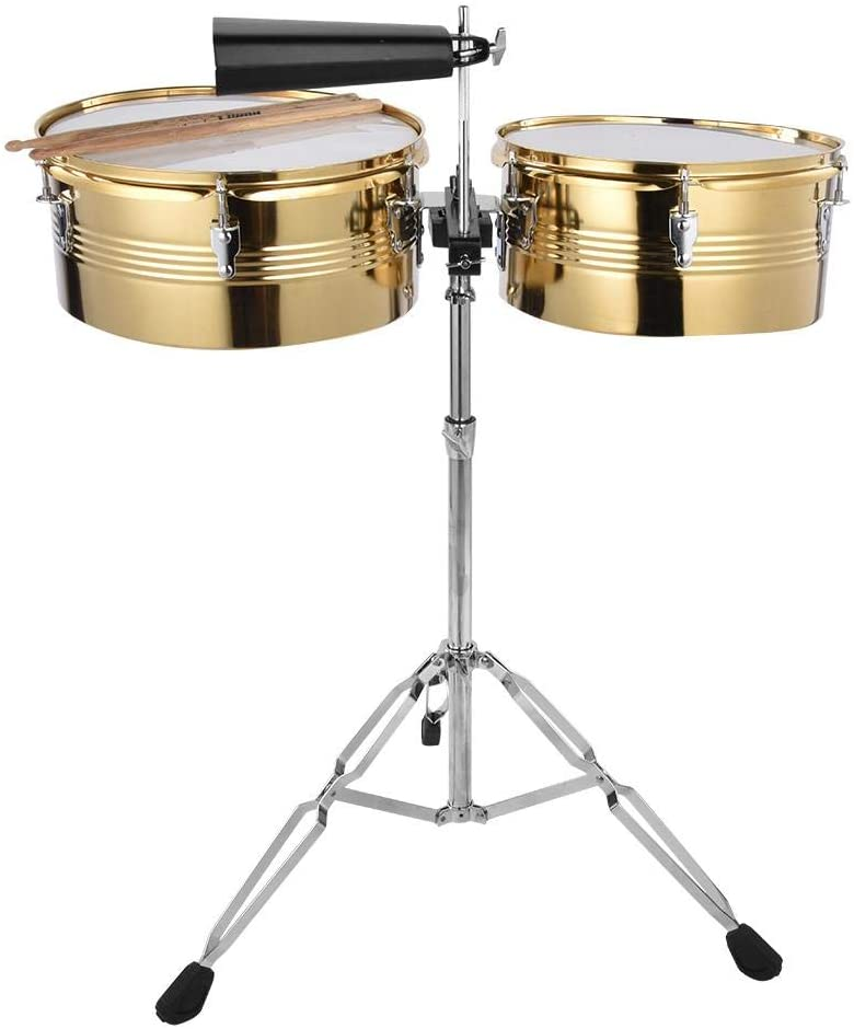 Timbale Drum Set Big Timbale and Drum Small Timbale Drum with Cowbell Bracket Percussion Instrument Set
