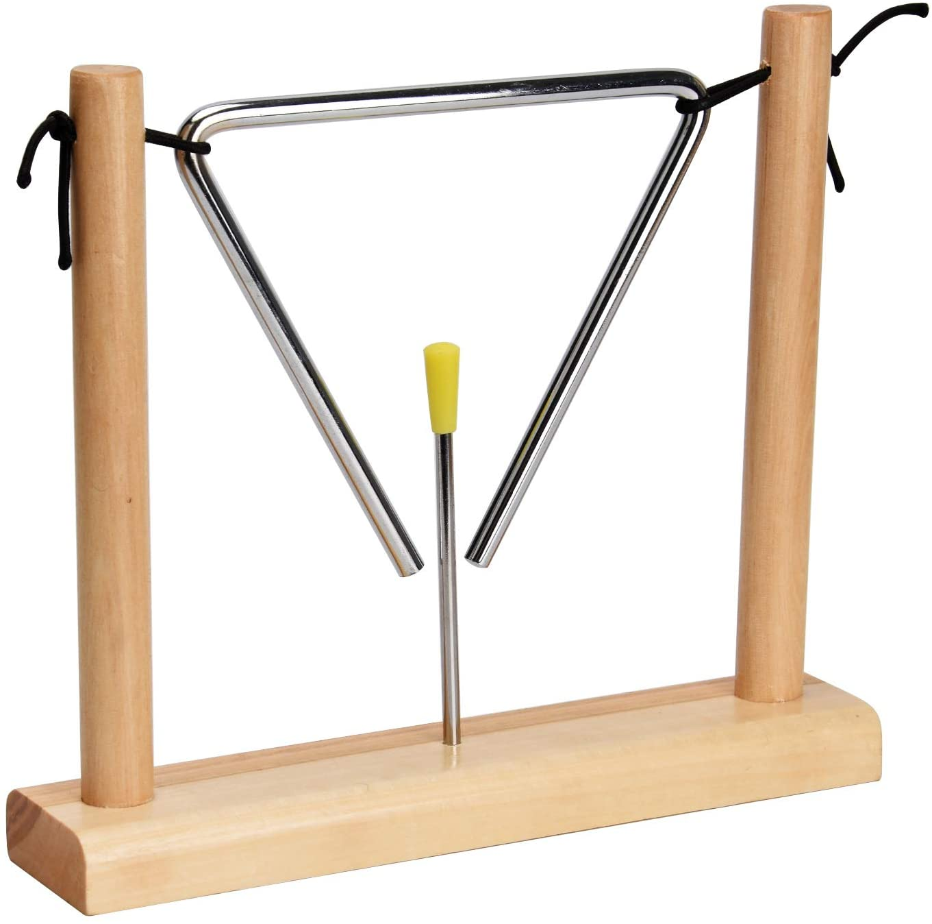 Facmogu 6 Inch Triangle Percussion Instrument with Striker & Wooden Stand, Musical Instrument for Children Music Enlightenment